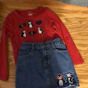 Gymboree red penguin shirt with matching skirt